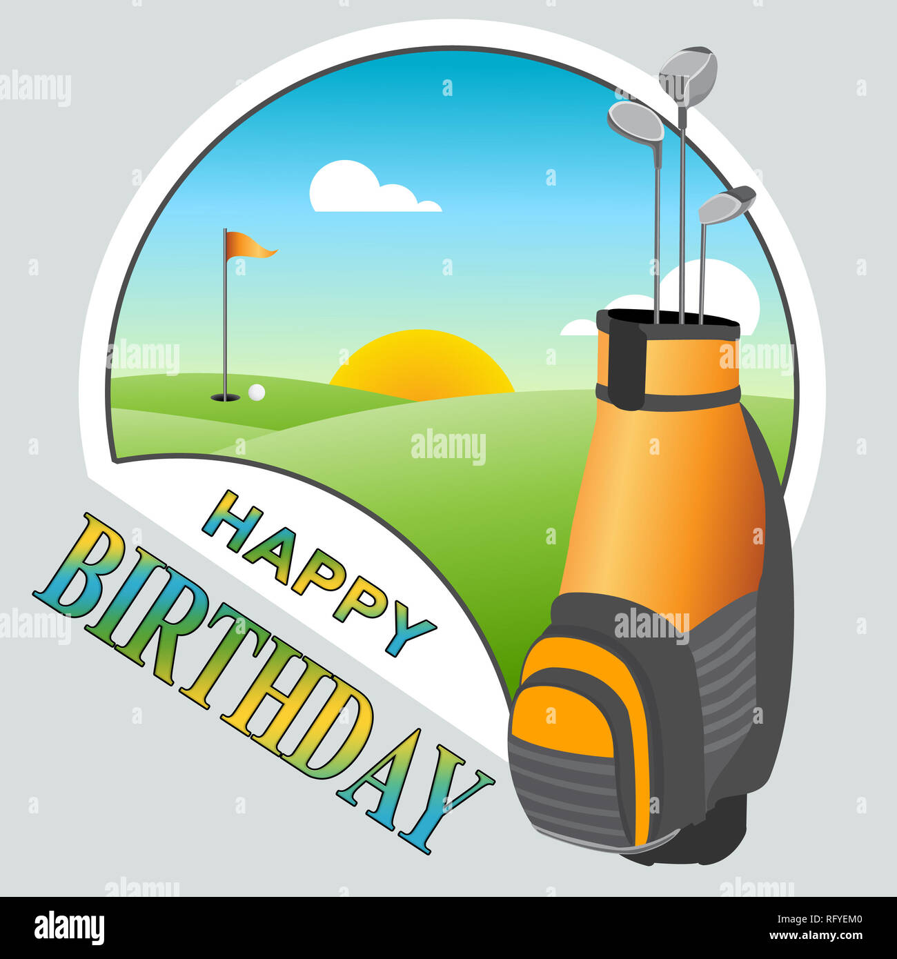 Happy Birthday Golf Nachricht Als Uberraschung Gruss Fur Golfspieler Congrats Fur Golffanatiker 3d Darstellung Stockfotografie Alamy