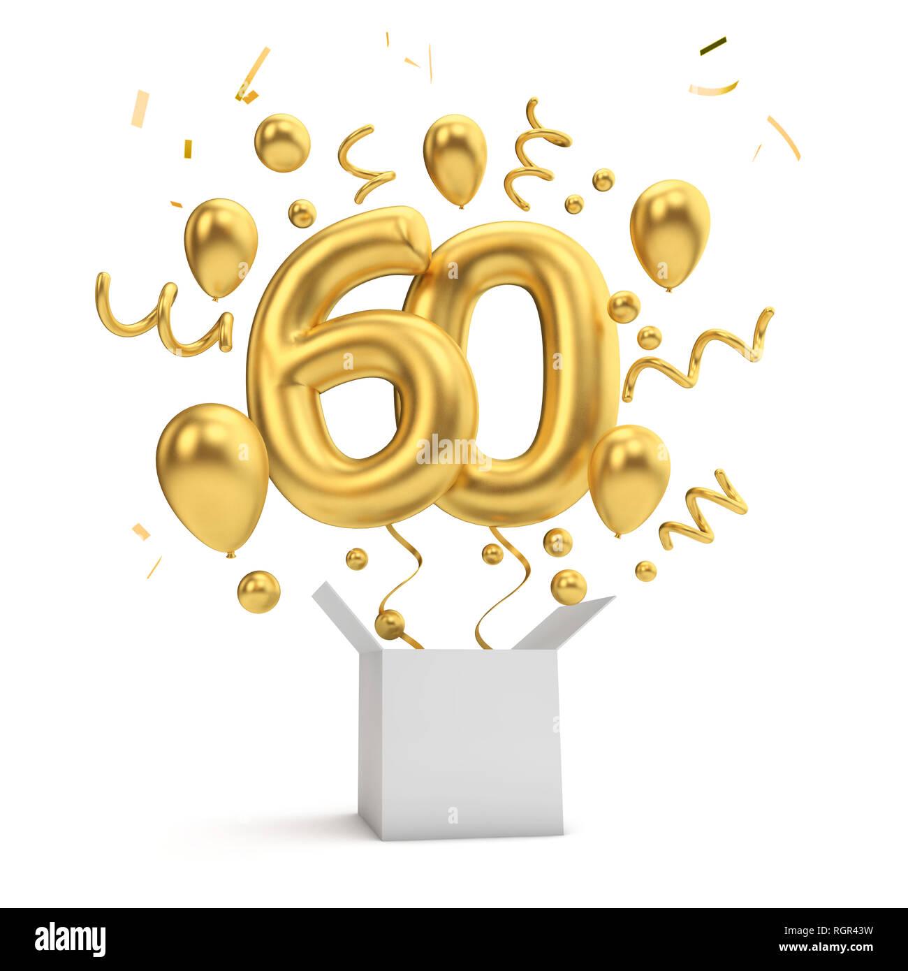 Happy 60th Birthday Gold Uberraschung Ballon Und Box 3d Rendering Stockfotografie Alamy