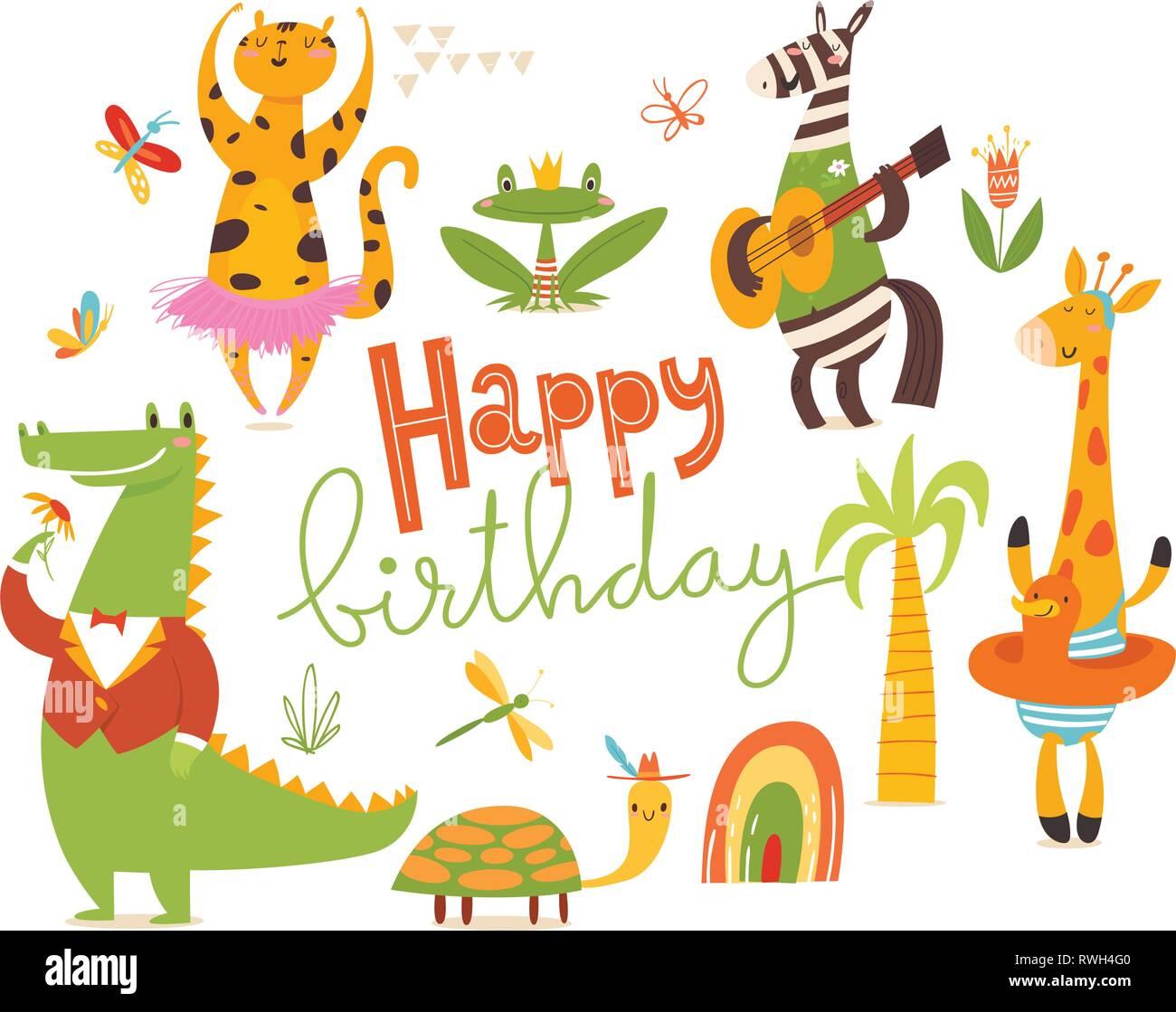 Happy Birthday Card Grosse Cartoon Wilde Tiere Stock Vektorgrafik Alamy