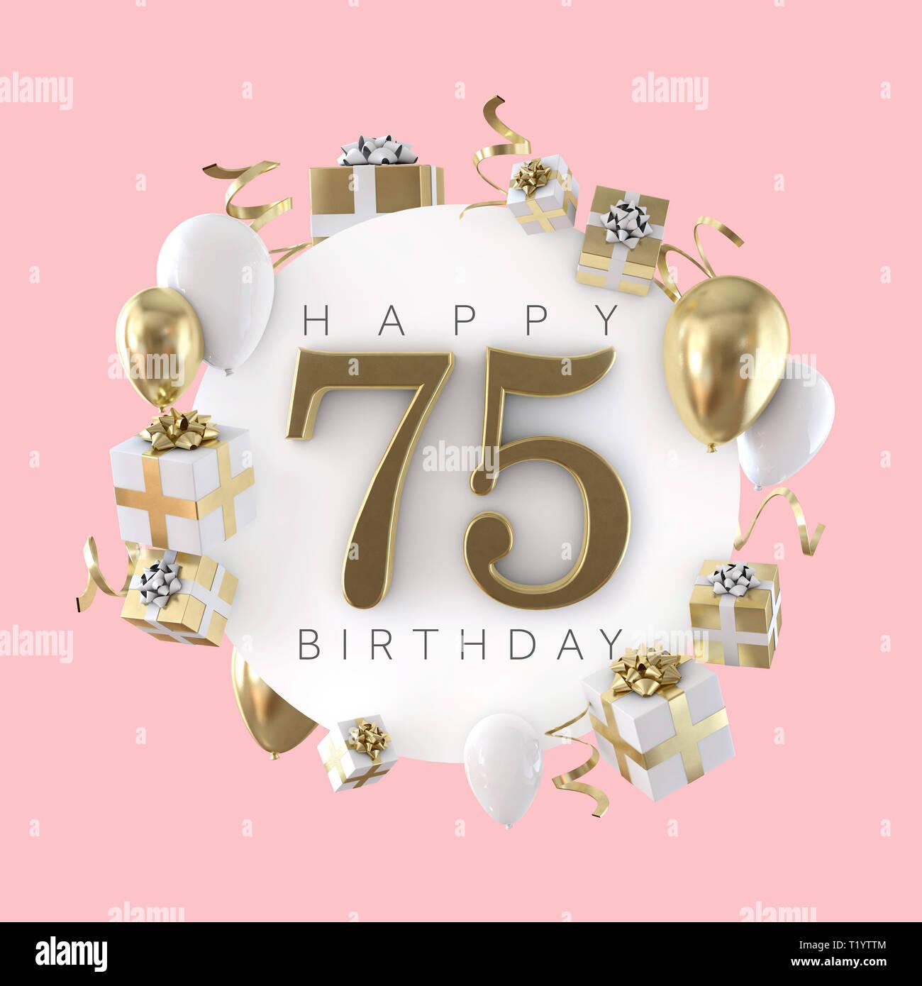Happy 75th Birthday Party Zusammensetzung Mit Ballons Und Prasentiert 3d Rendering Stockfotografie Alamy