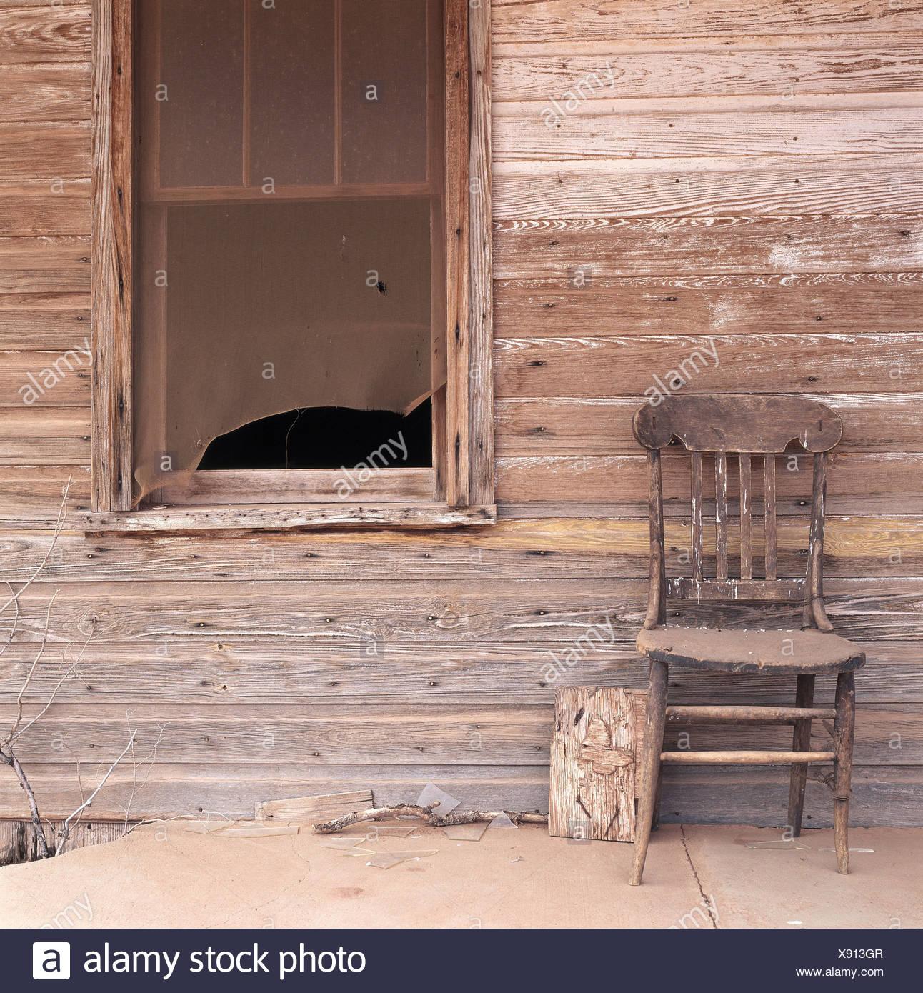 USA, New Mexico, Holzhaus, Wand, Fenster, Stuhl, alte, Amerika