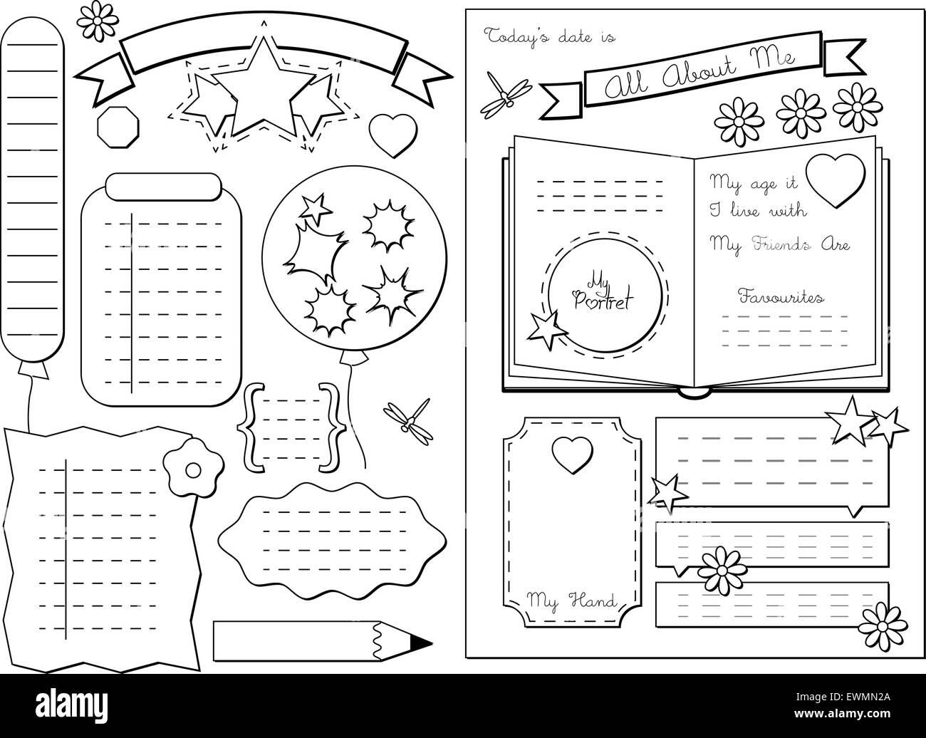 Todo Sobre Mi Escuela Printable Ilustracion Del Vector
