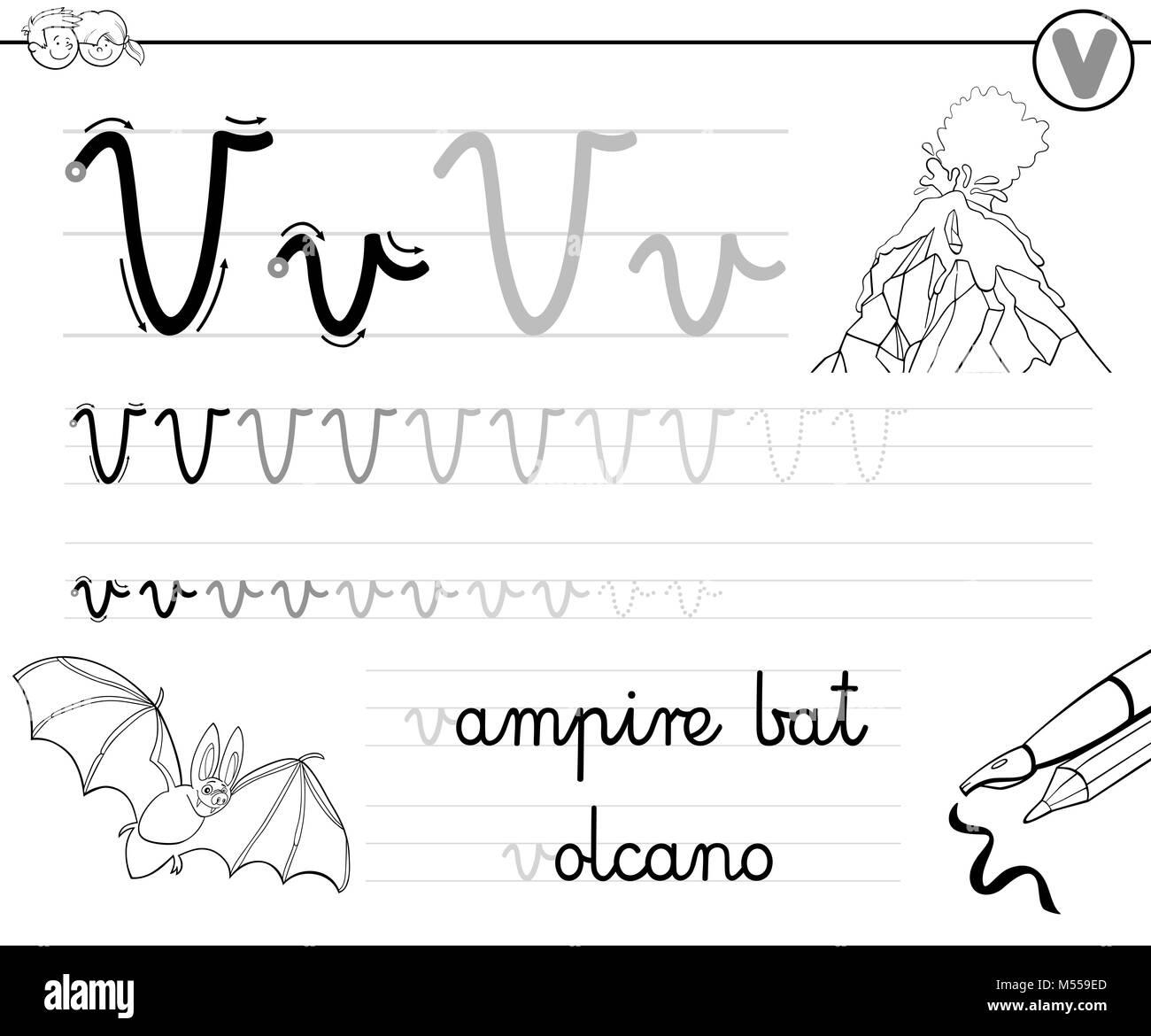 Aprender A Escribir La Letra V Libro Para Ninos Foto