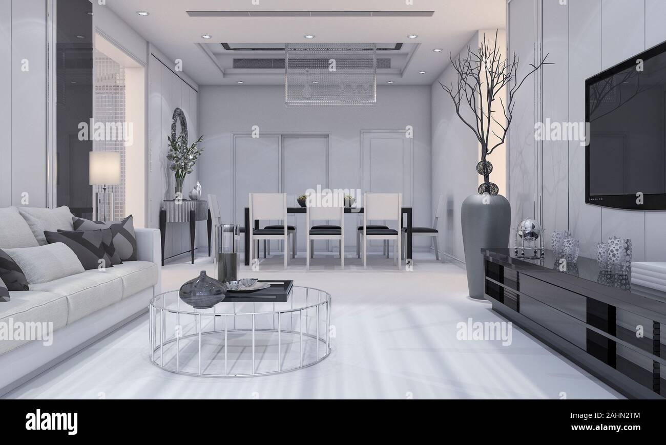 https www alamyimages fr cette salle de sejour et salle a manger de luxe au design moderne et agreable est dotee d un canape gris d une etagere de television et d une table a manger image337909396 html