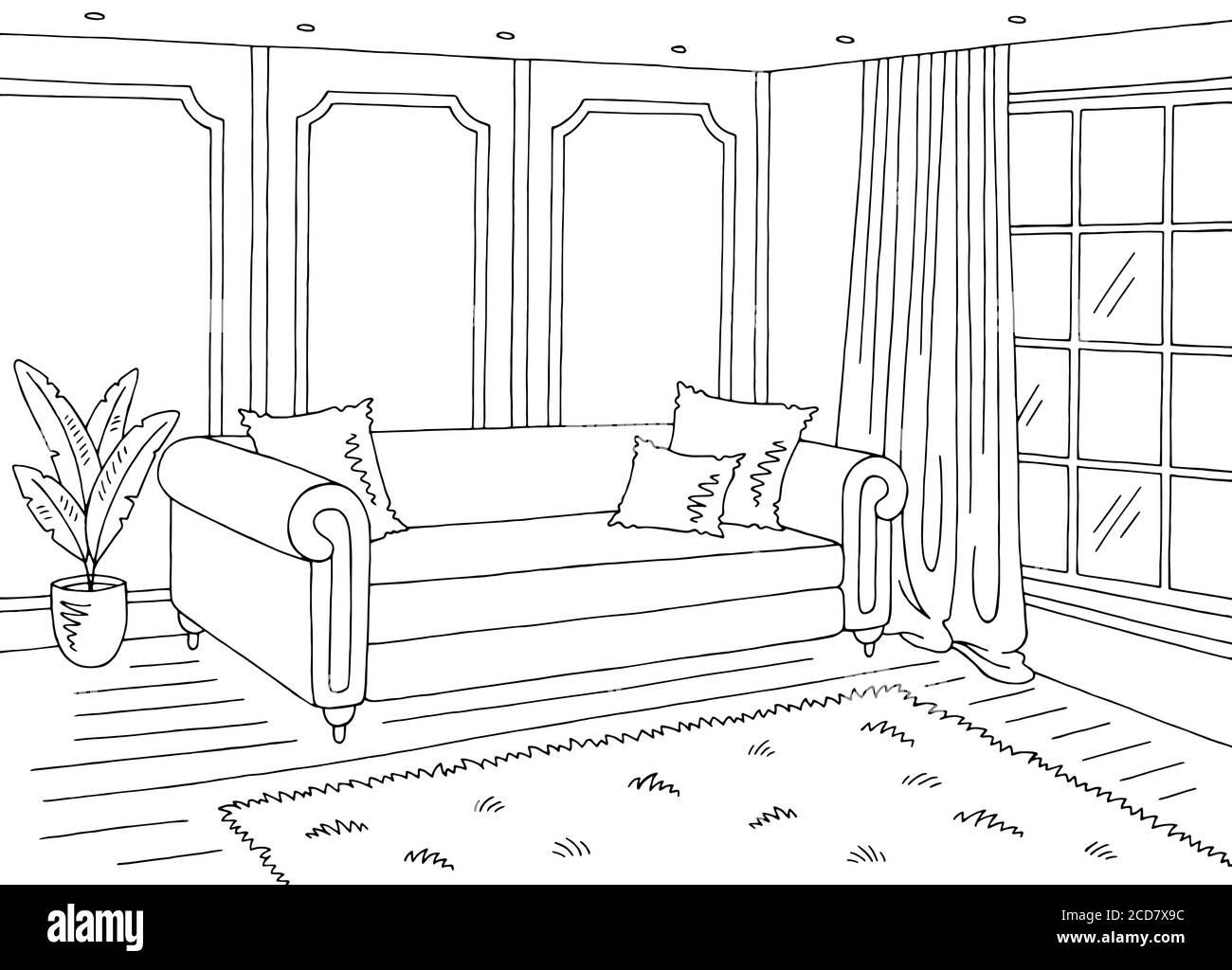 Representation Graphique Du Salon Noir Blanc Maison Classique Dessin D Interieur Vecteur Image Vectorielle Stock Alamy