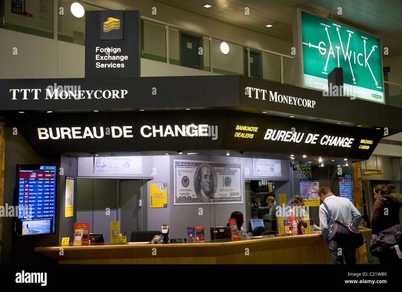 ttt moneycorp bureau de change bureau gatwick airport south terminal londres uk