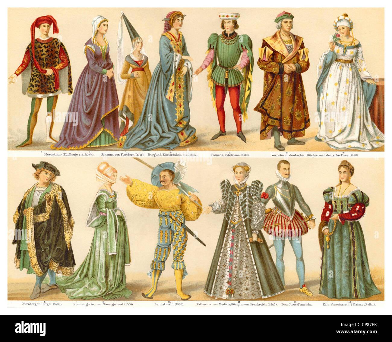 https www alamyimages fr photo image les costumes la mode les vetements 15e et 16e siecle historische zeichnerische darstellung 19 jahrhundert aus meyers konversa 48124683 html