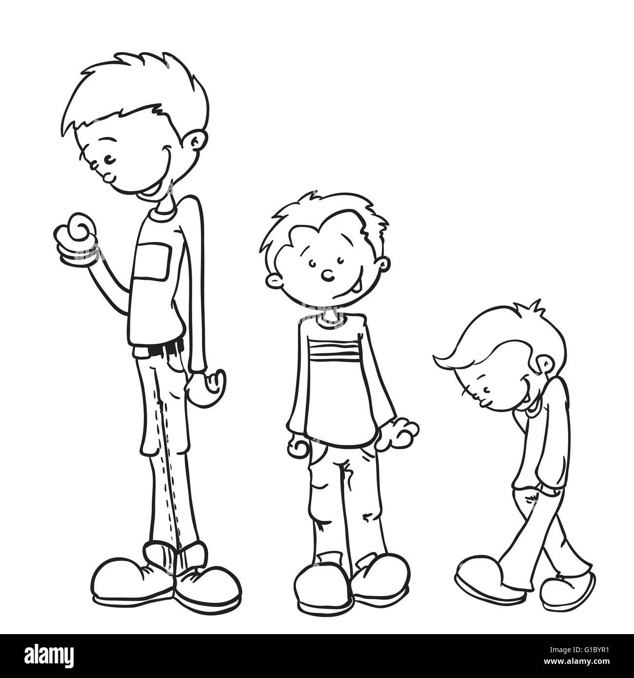 https www alamyimages fr photo image simple noir et blanc petit garcon grandir cartoon 104140149 html