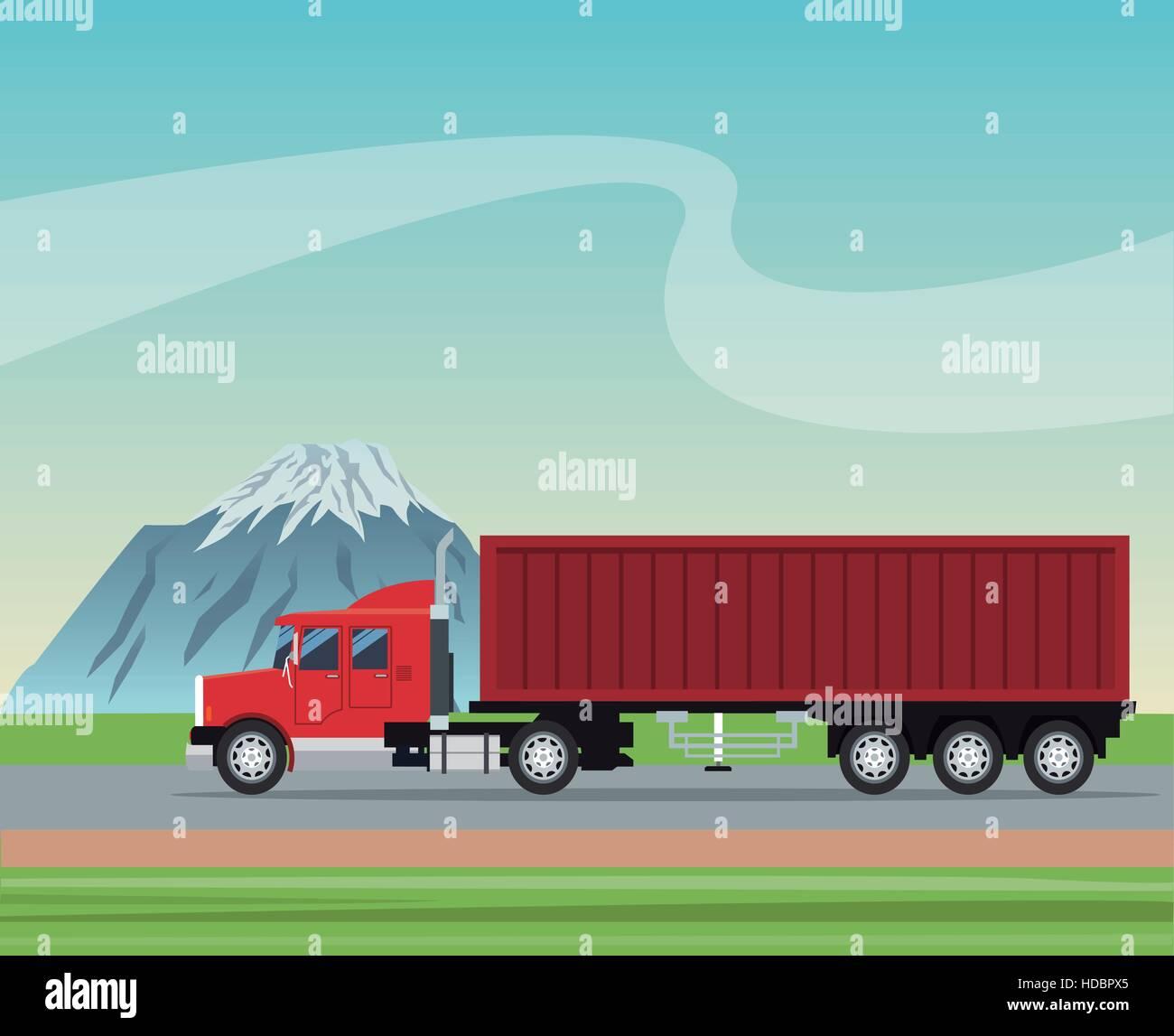 remorque de camion de livraison de conteneurs transports transport routier fond de montagne