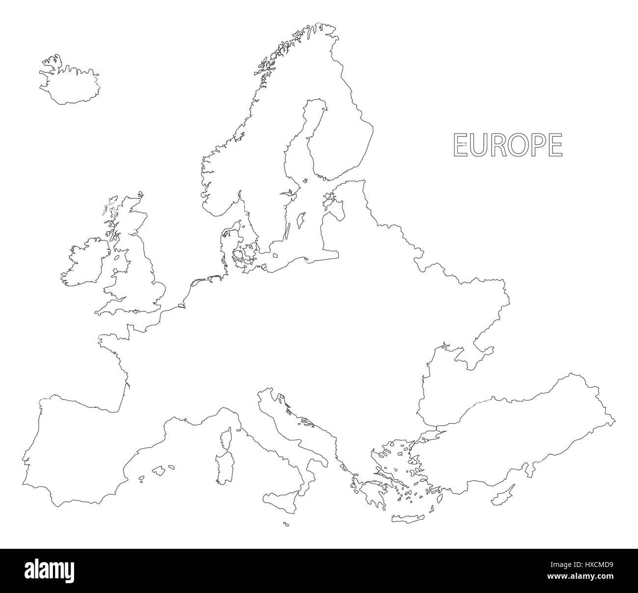 https www alamyimages fr photo image l europe la carte silhouette illustration en noir et blanc 136733109 html
