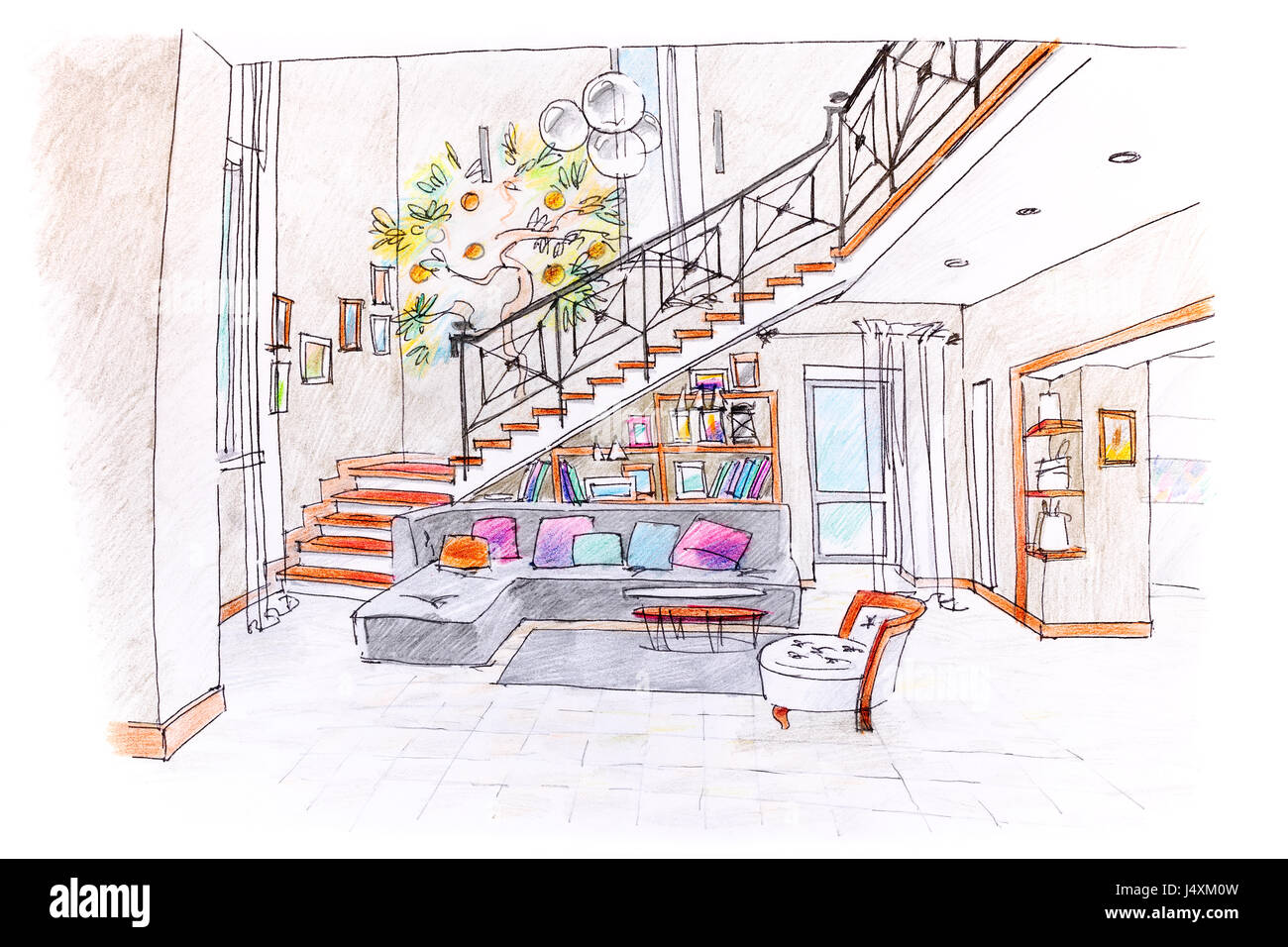 https www alamyimages fr photo image dessin a la main de couleur de cette chambre moderne design plan de salle de sejour avec des meubles 140728025 html