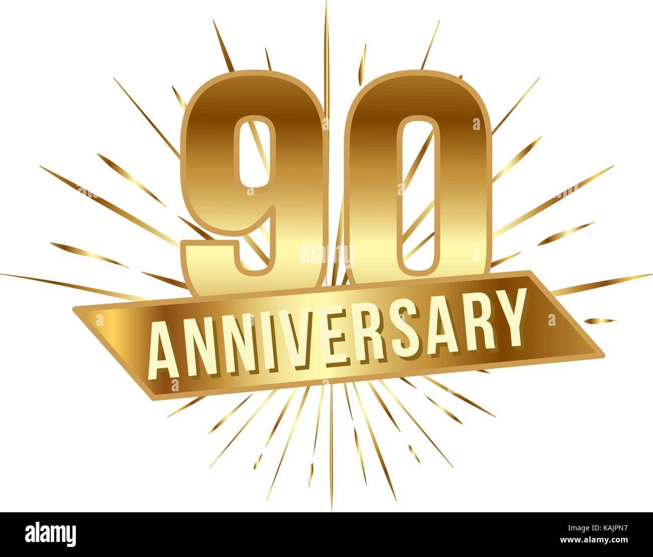 https www alamyimages fr photo image anniversaire 90 ans nombre d or 90e ans logo de fete et l accueil avec la solarisation invitation pour decor vector illustration style television isolat 161452851 html