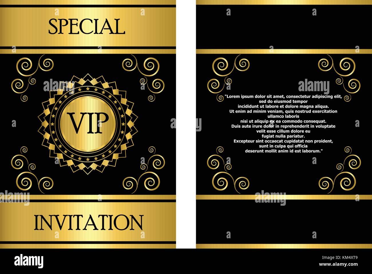 https www alamyimages fr photo image une carte d invitation vip or modele qui peut etre utilise pour les affaires entreprise evenement ou invitation a une fete 167295305 html