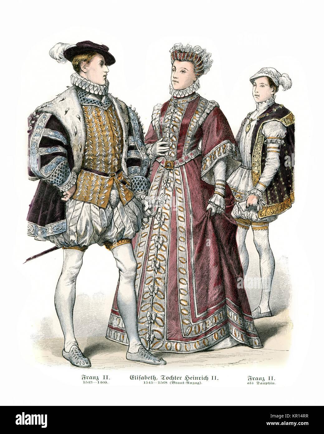 https www alamyimages fr photo image costumes de france 16eme siecle francois ii elizabeth fille de henri ii francois ii et costume de dauphin 169056155 html