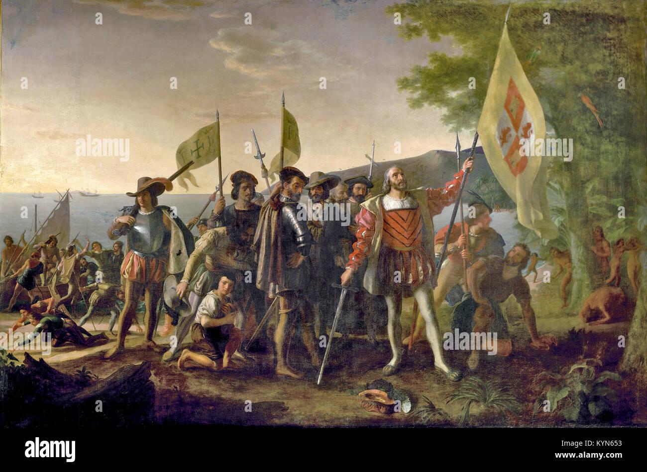 Christophe Colomb Le Debarquement De Christophe Colomb 12 Octobre Peinture De John