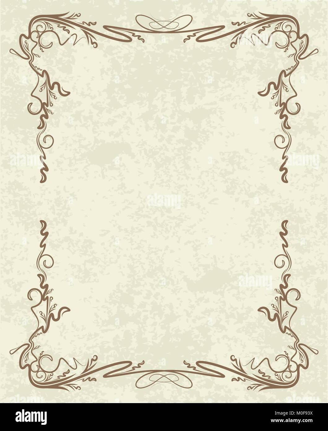 https www alamyimages fr photo image ancien cadre sur de papier retro vintage carte de voeux invitation ou gabarit pour les notes 172440126 html