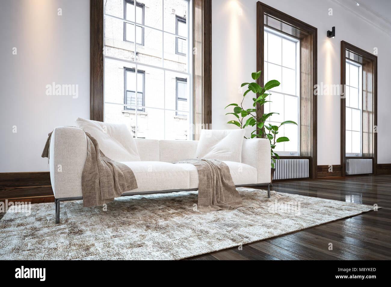 https www alamyimages fr photo image grand salon minimaliste de luxe spacieux interieur avec un confortable canape blanc sur un tapis sur un sol en bois en face de grandes fenetres lumineuses donnant sur 177628933 html