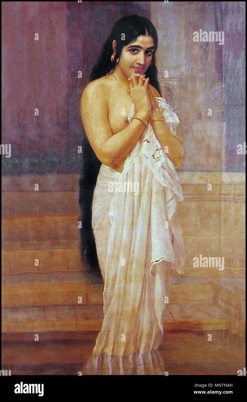https www alamyimages fr anglais frais d baignoire anglais peinture d une dame malayali apres bain dans l etang date inconnue 1040 raja ravi varma frais de baignoire image185555065 html