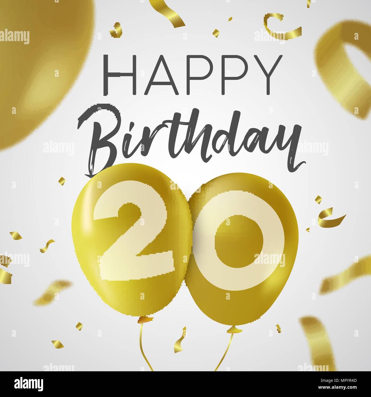 https www alamyimages fr joyeux anniversaire 20 vingt ans luxury design avec de l or nombre d or et ballon confetti decoration ideal pour les fetes d invitation ou carte de voeux ep image186236973 html