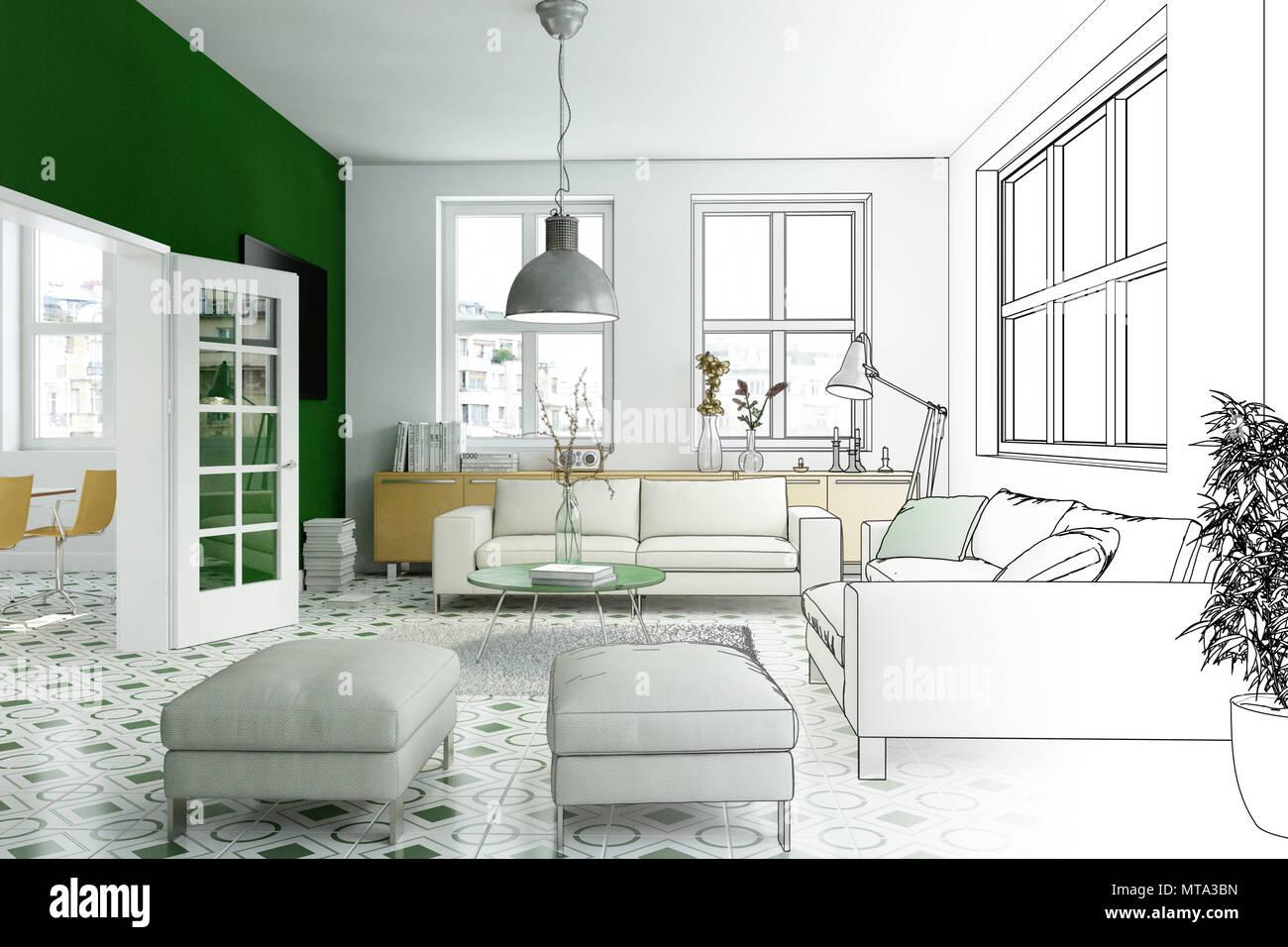 https www alamyimages fr salon de design d interieur gradation dessin en photographie image187077625 html