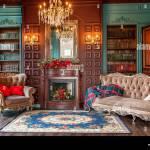 Interieur Classique De Luxe Accueil Bibliotheque Salon Avec Bibliotheque Livres Fauteuil Canape Et Cheminee Decoration Moderne Et Propre Avec Un Elegant F Photo Stock Alamy