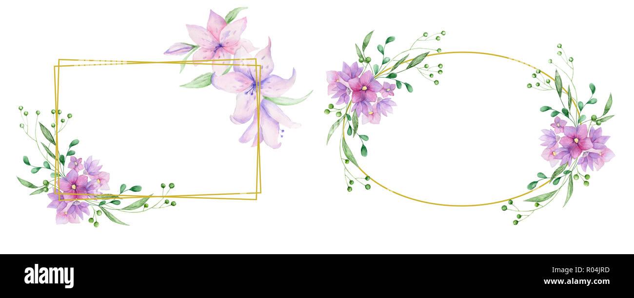 https www alamyimages fr invitation de mariage carte d olive inviter floral et floral fleurs rose geometrique horizontal cadre dore imprimer fond blanc image223837361 html