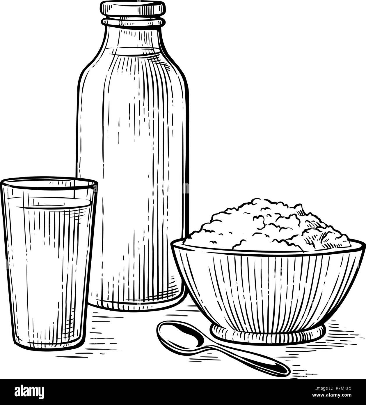 https www alamyimages fr petit dejeuner sain croquis dessin verre de lait caille friable d illustration vectorielle bouteille de lait image228491737 html