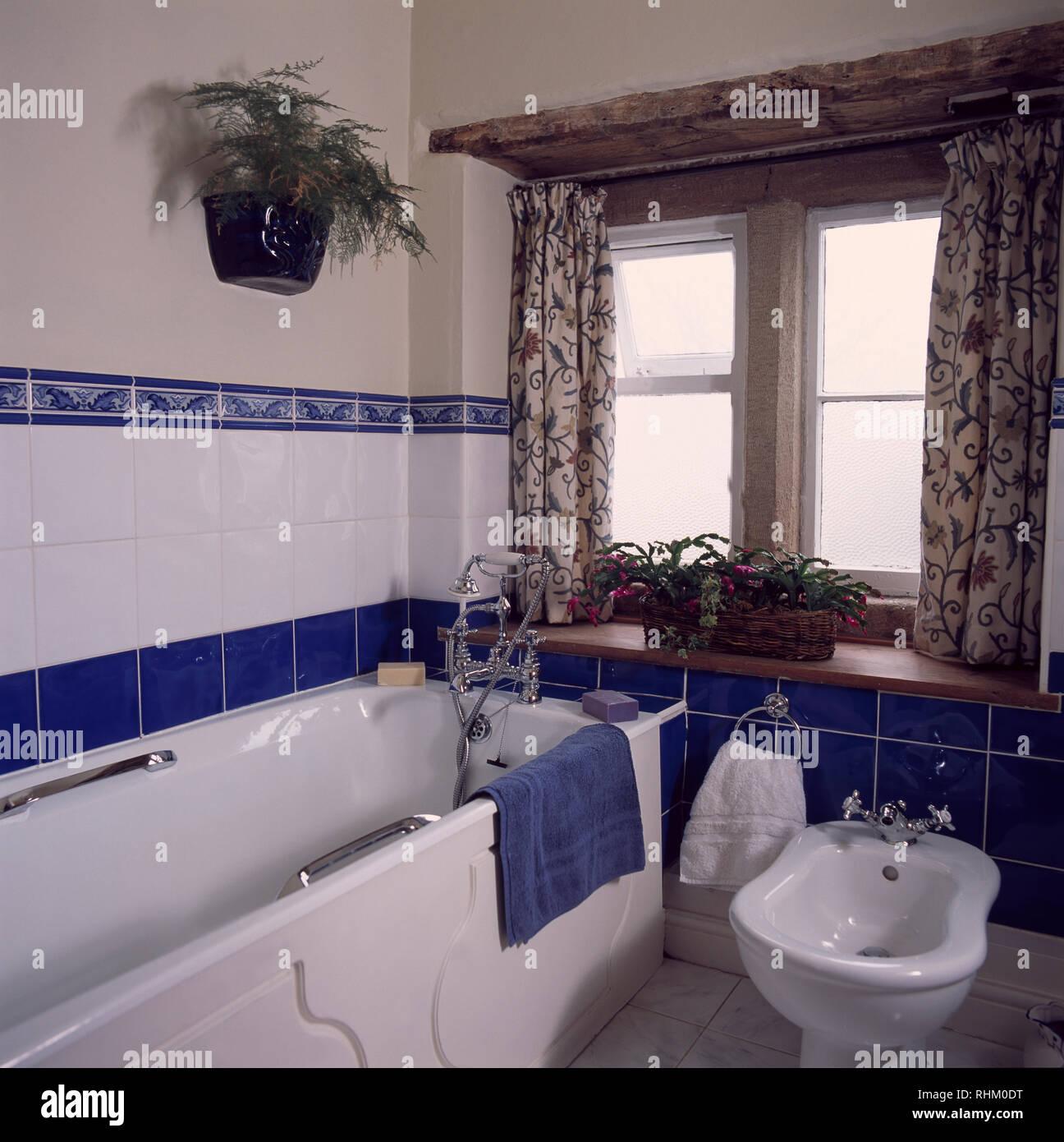 Bidet Baignoire A Cote De Cottage Salle De Bains Avec Carrelage Bleu Et Blanc Photo Stock Alamy