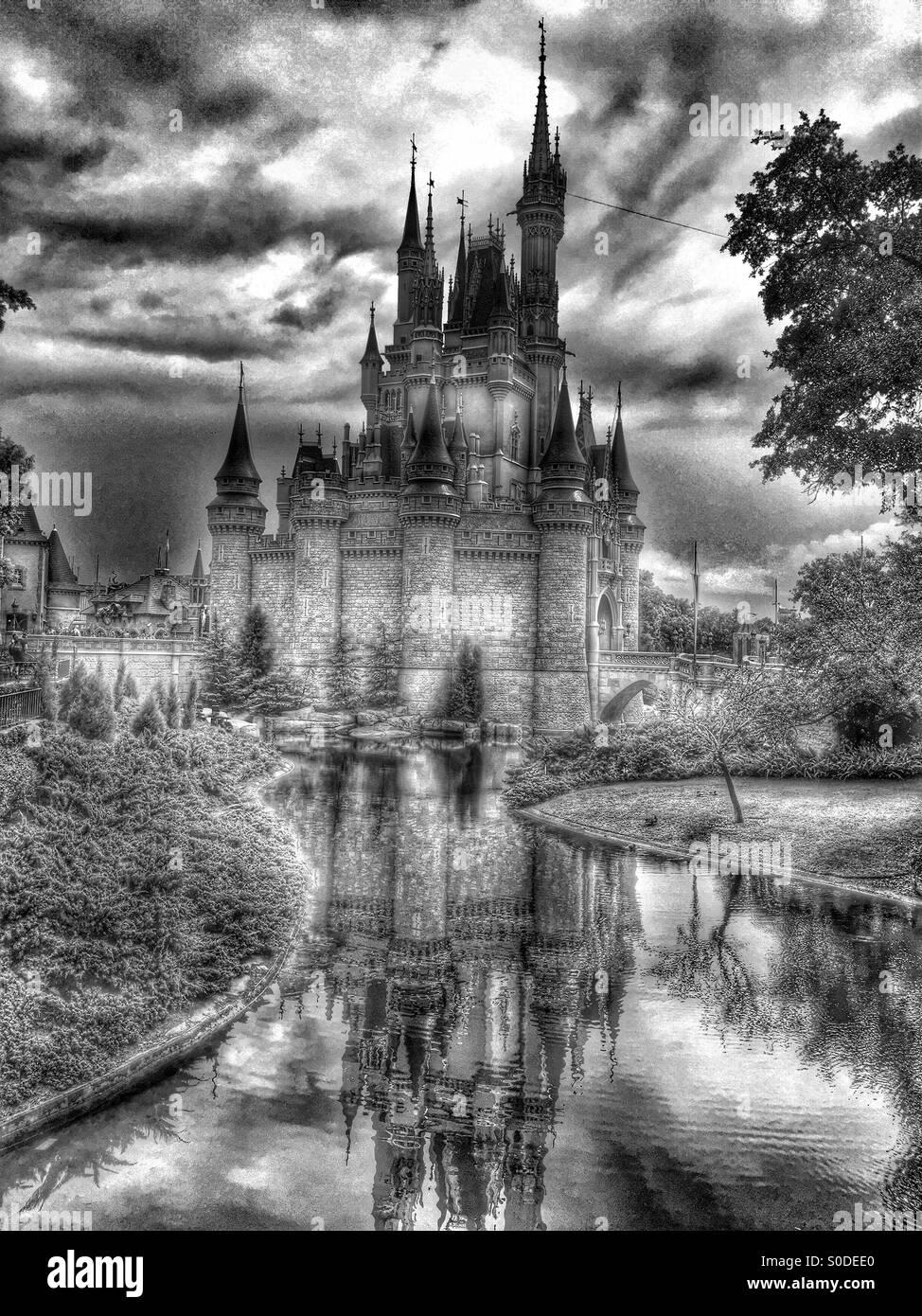 Noir Et Blanc Chateau Disney Photo Stock Alamy