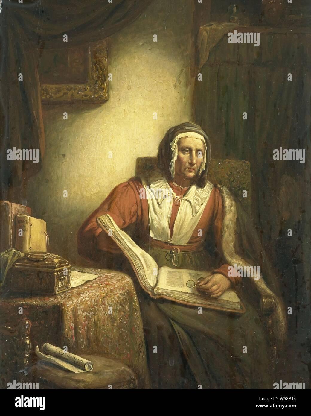 https www alamyimages fr vieille femme a la lecture une vieille femme assise sur une chaise avec un livre ouvert sur ses genoux elle vient juste d arreter la lecture et de l est regarde droit devant lui avec ses lunettes dans sa main gauche sur la gauche une table avec une poitrine et des livres un tableau est suspendu sur le mur derriere un rideau george gillis haanen 1834 panneau de la peinture a l huile peinture h 31 5 cm w 25 cm d 9 5 cm image261413072 html