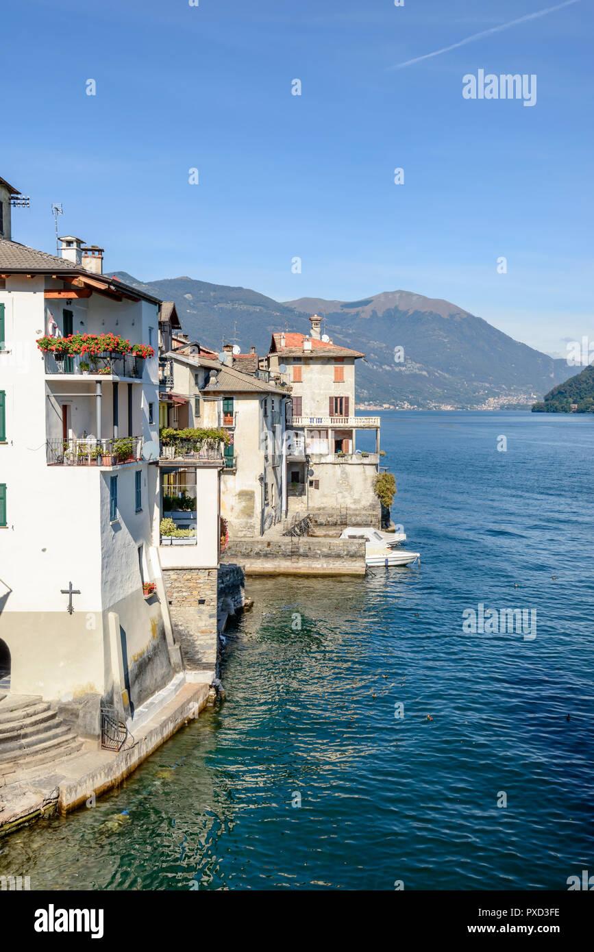 Paesaggio Di Verde Lago Di Costa Del Lago Di Como Con
