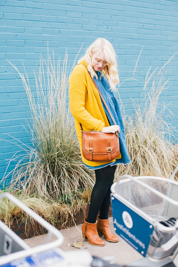 austin style blogger asos smock dress yellow sweater7