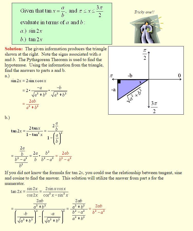 Angle Sum And Difference Double Angle And Half Angle Formulas A
