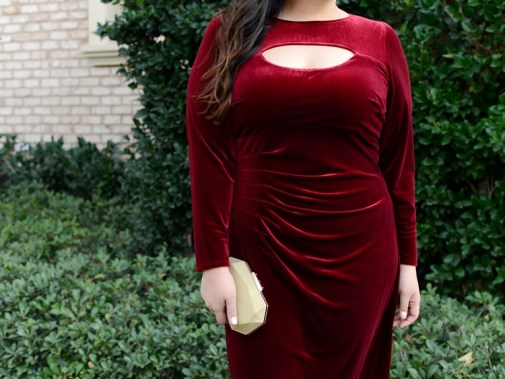 Macy's INC International Concepts Burgundy Plus Size Velvet Bodycon Dress Holiday Outfit Idea