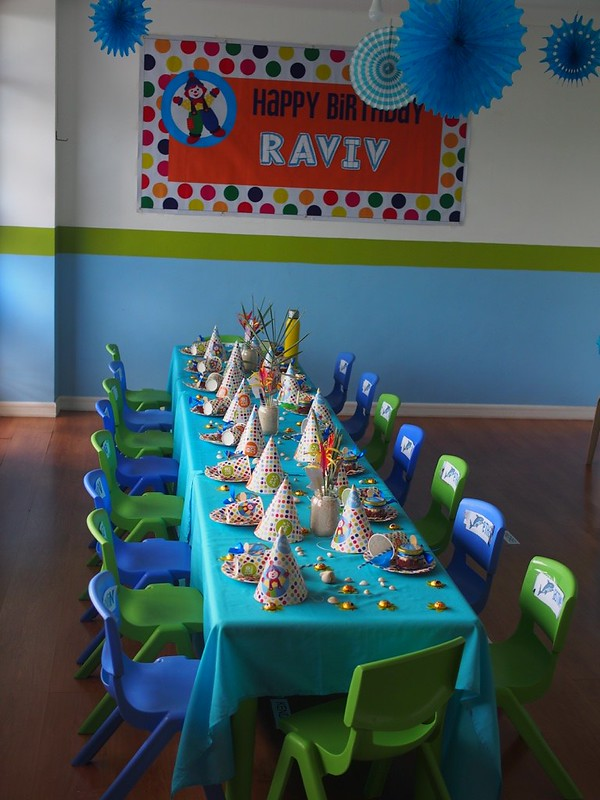 party room for children with Gymboree birthday banner