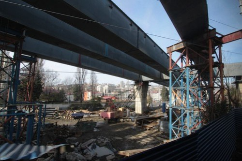 Viaduct under construction for the Kurortny Prospect backup highway