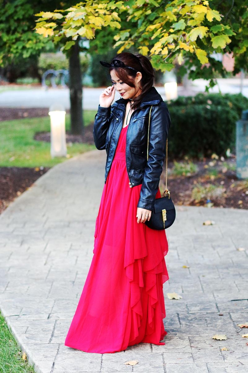 shein-red-maxi-dress-leather-jacket-chloe-drew-bag-3