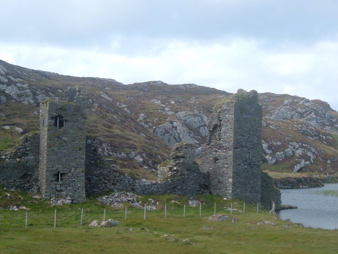 Dunlough castle close up on the towers