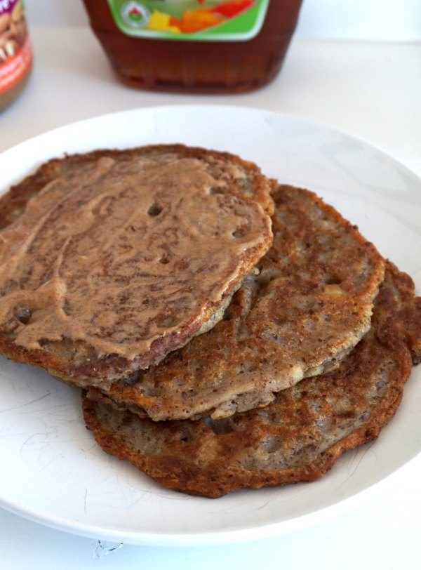 Banana Pancakes with Almond Butter | thelittleredspoon.com