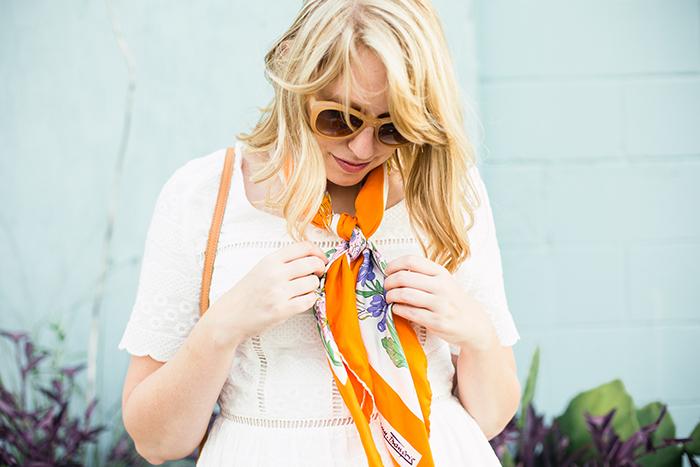white dress vintage scarf12