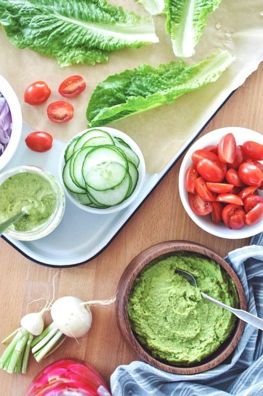 Toppings for the baked falafel lettuce wraps