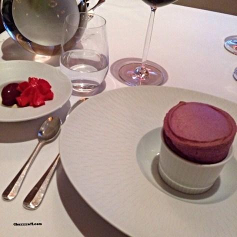 Restaurant Martin Wishart - Blackcurrant Souffle, blackcurrant sorbet and Knockraich farm creme fraiche