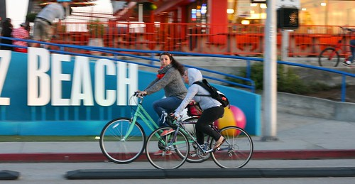 Bike Party in front of the Santa Cruz Beach Boardwalk