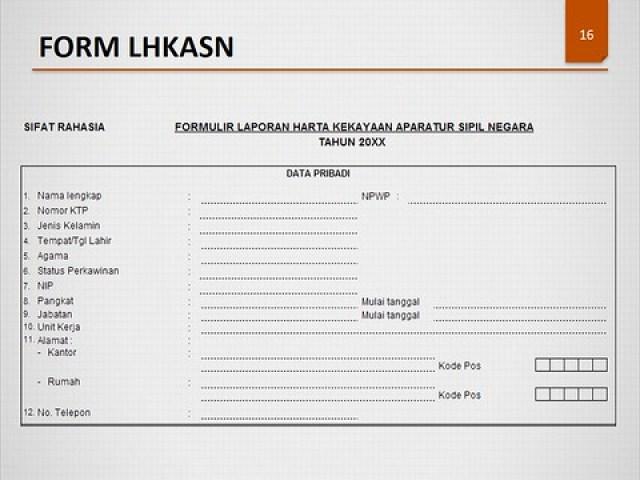Contoh form LHKASN