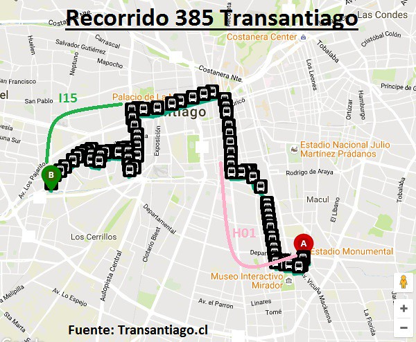 Recorrido 385 Transantiago