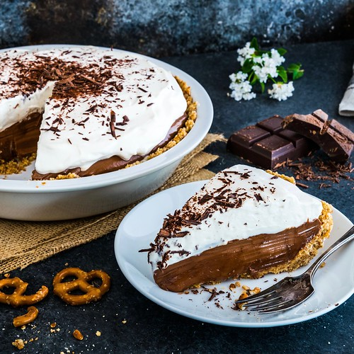 nutella cream pie with a pretzel crust