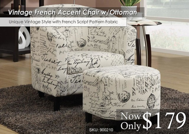 Vintage French Chair wOttoman 900210