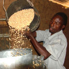 A farmer in Embu, Kenya, loads grain into a metal silo, for more efficient storage