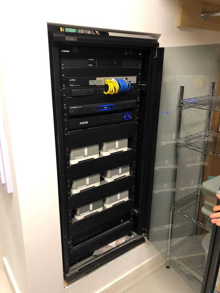 systems rack with sonos connect amps