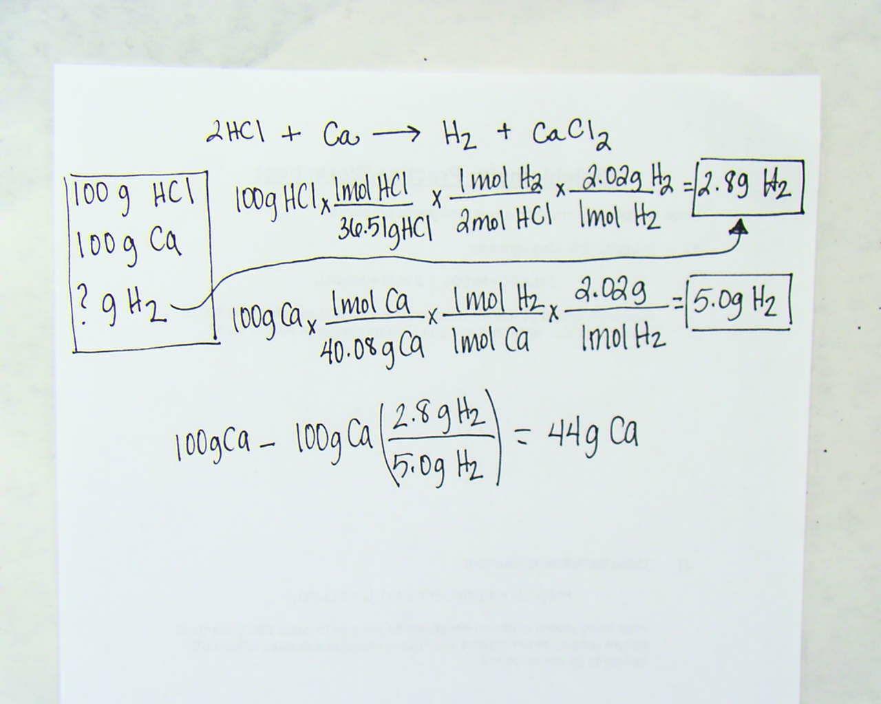 Worksheet Limiting Reactants Chemistry A Study Of Matter 8 36